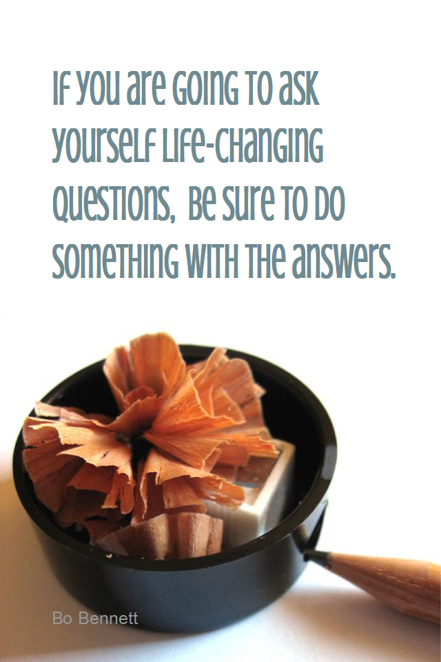visual quote - image quotation for SELF-IMPROVEMENT - If you are going to ask yourself life-changing questions, be sure to do something with the answers. - Bo Bennett