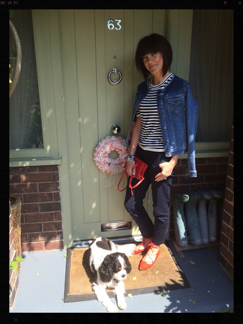 my Midlife Fashion, Office Red Ghille lace up flat shoes, capri trousers, breton, stripes, denim jacket, alice jacket, zara, boden, coco bay, hipanema