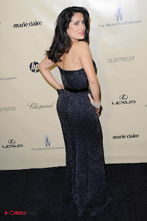 Salma Hayek Pictures in Black Shoulderless Dress at Weinstein Company Golden Globes Party ~ Celebs Next