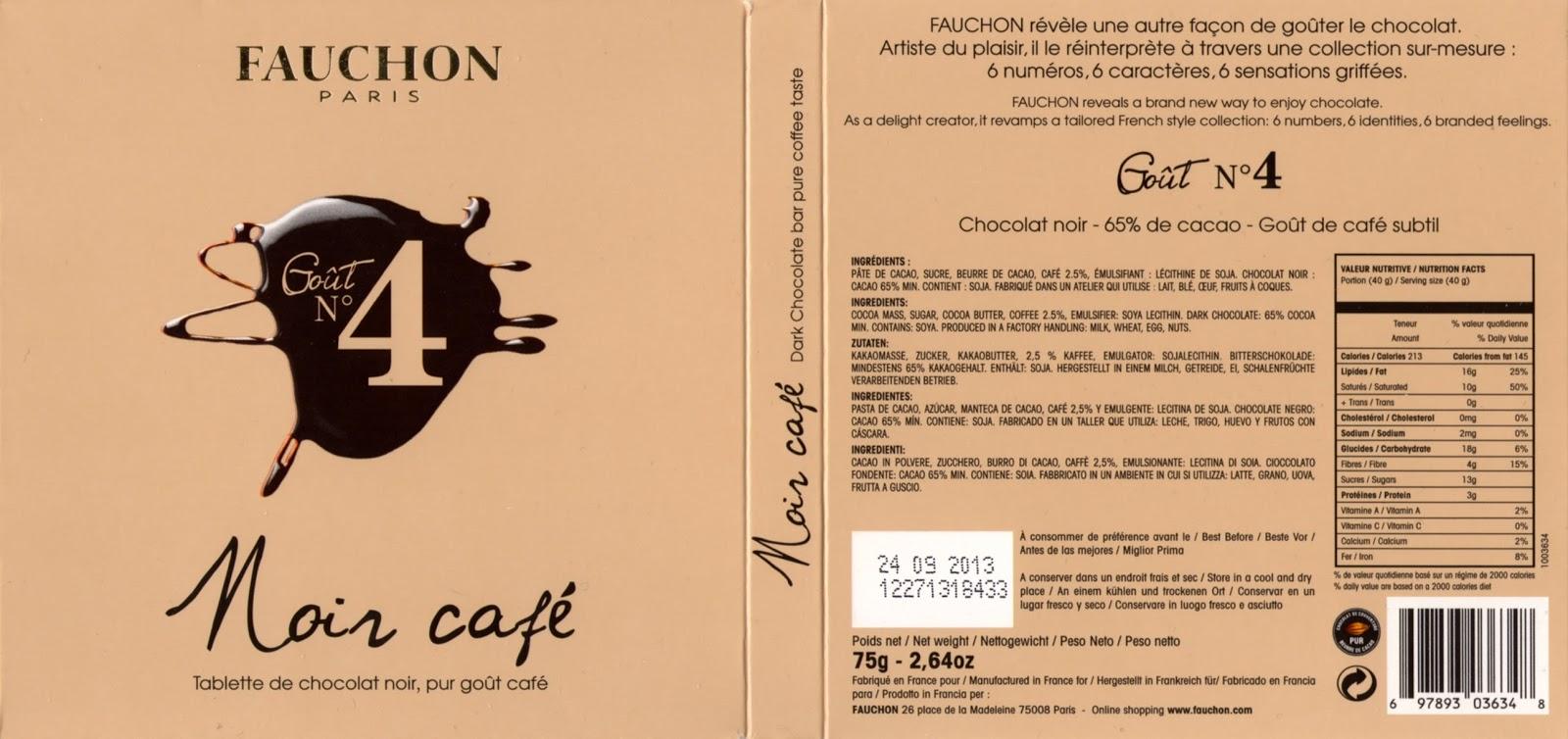 tablette de chocolat noir gourmand fauchon goût n° 4 noir café