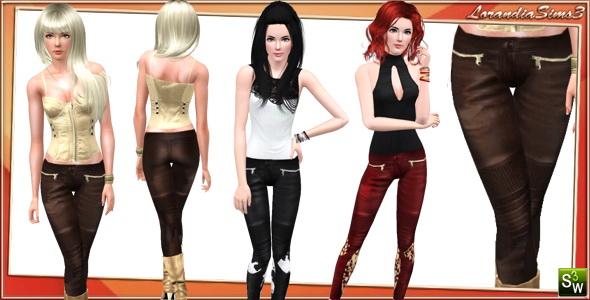 Leather Pants for Adult Females by Lore. Download at Lorandia Sims