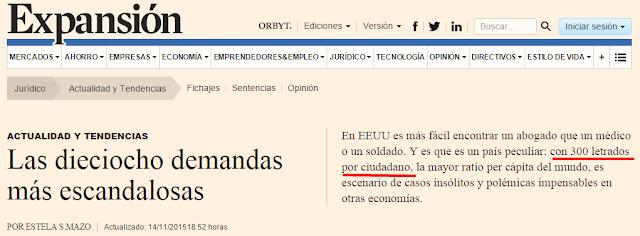 """Imagen capturada de noticia en Expansión. Texto clave: """"Y es que es un país peculiar: con 300 letrados por ciudadano..."""""""