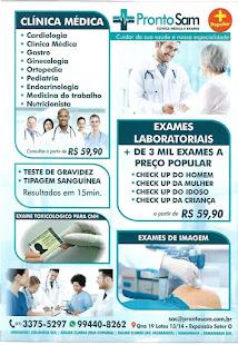 PRONTOSSAM- LABORATÓRIO E CLINICAS-COMPLETO E É DE SAMAMBAIA