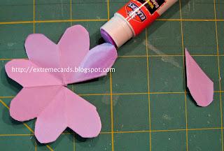 three flower pop up card assembling flowers