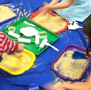 preschool sand play on trays (Brick by Brick)