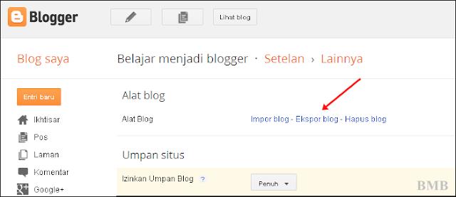 cara backup postingan blog