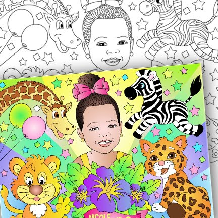 NEW* ZOO PARTY COLORING PAGE