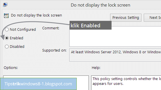 enabled  untuk menghilangkan lock screen di windows 8.1