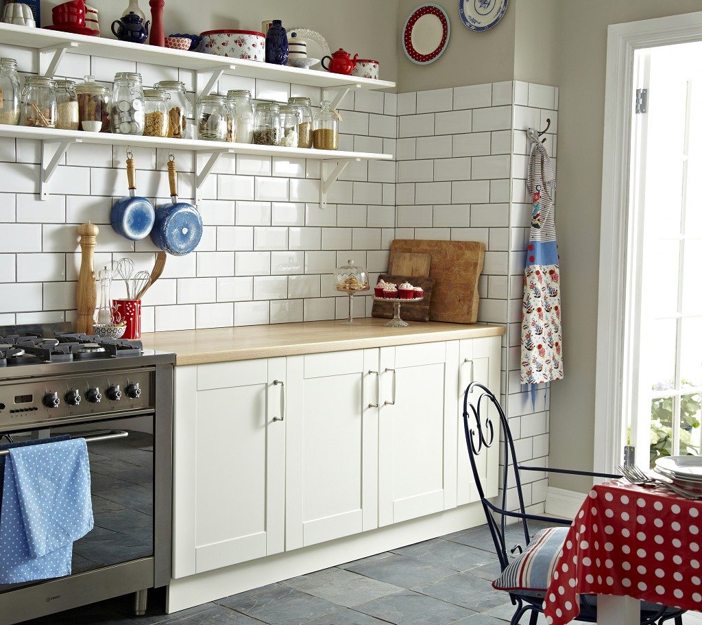 idea for white glossy subway or metro brick tiles in the kitchen