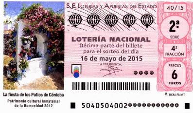 Lotería Nacional del sábado 16 de mayo de 2015