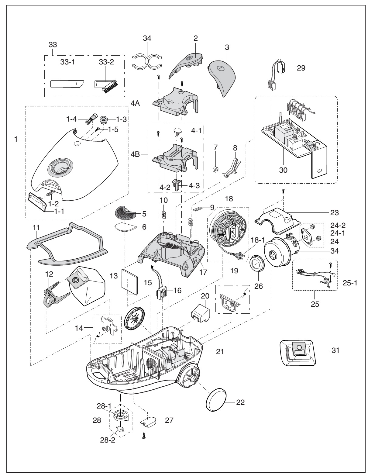 how to disassemble samsung vc 6025 vacuum cleaner - exploded view