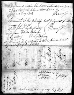Warrant signed by George's son William Reves, Justice of the Peace in Ashe County