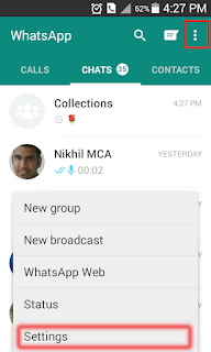WhatsApp options and setting