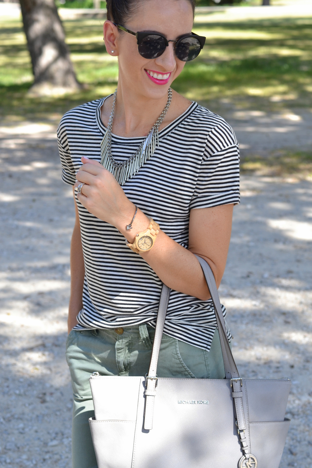 Striped Boyfriend Tee, Pink Lips and Wood Watch