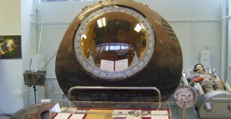 Vostok I capsule used by Yuri Gagarin in first space flight, on display at the RKK Energiya Museum outside of Moscow. Credit: SiefkinDR/Wikipedia