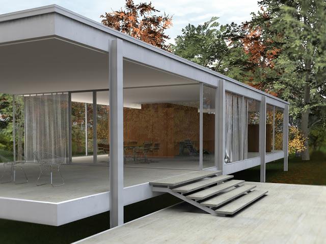 la casa farnsworth de mies van der rohe consiste en una una estructura metlica cerrada con paos de cristal que hacen que el espacio interno est en