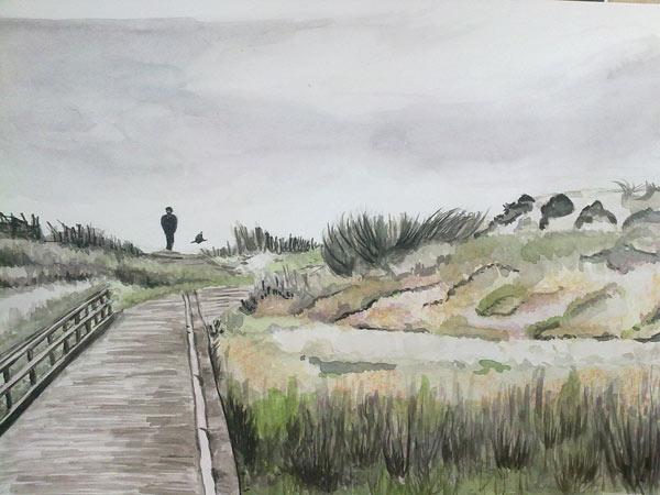 paisaje de una playa pintado con tinta y acuarela
