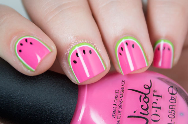 Watermelon nail design graham reid watermelon nail art with nicole by opi leapink for joy i been prinsesfo Images