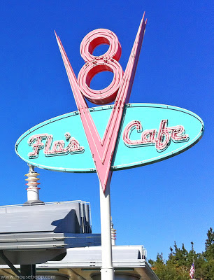 Flo's V8 Cafe Cars Land Carsland DCA sign Disney California
