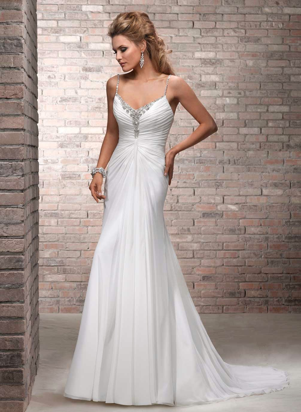 Backless Long Train White Beach Wedding Dresses Photos HD Ideas