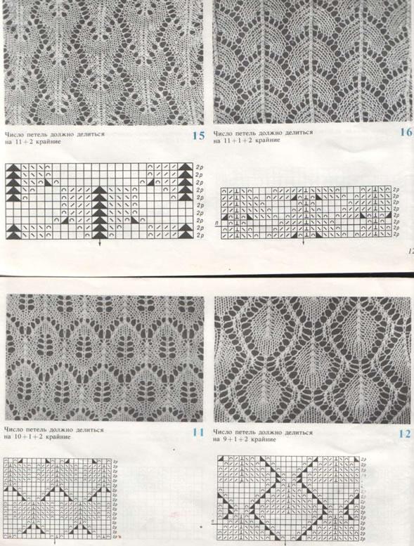 Схемы ажурных рисунков для ручного вязания
