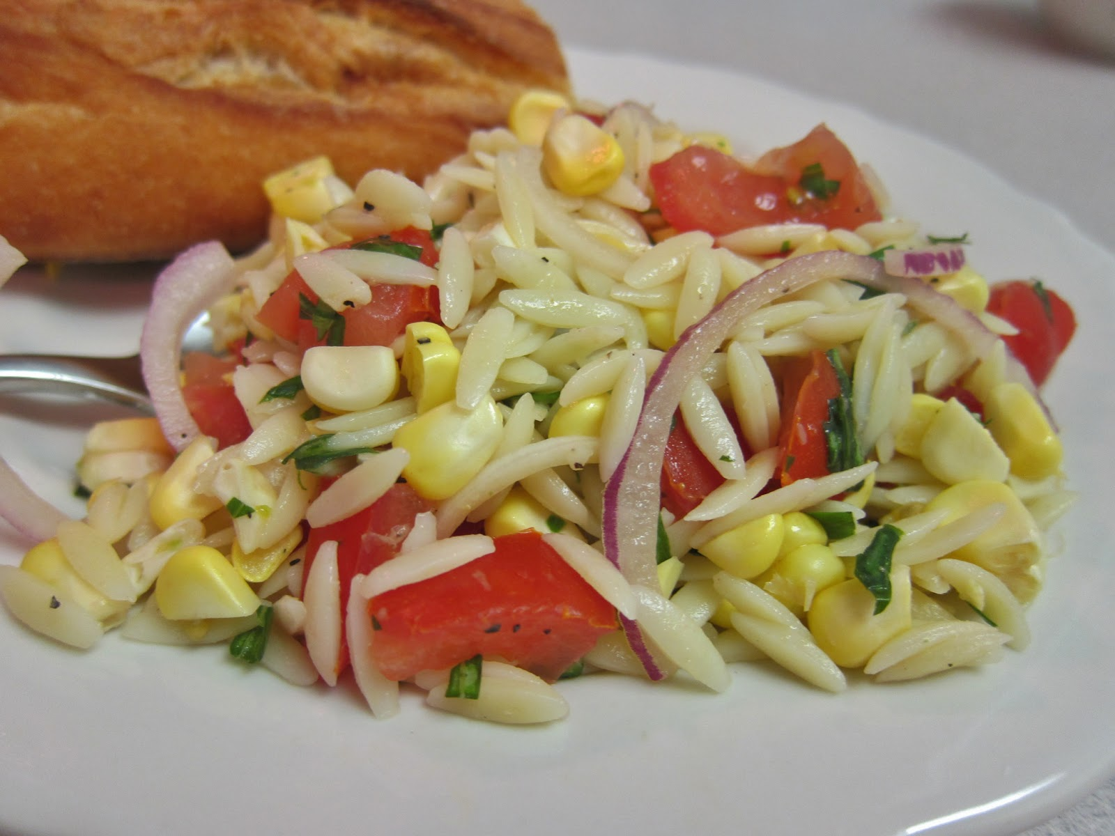 The Vegan Chronicle: Orzo Salad with Corn, Tomatoes, and Basil