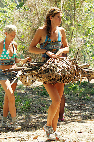 the girls win that challenge obviously u0026 with it the reward of a restoration hardware rustic palmfrond firewood carrier retails at - Firewood Carrier