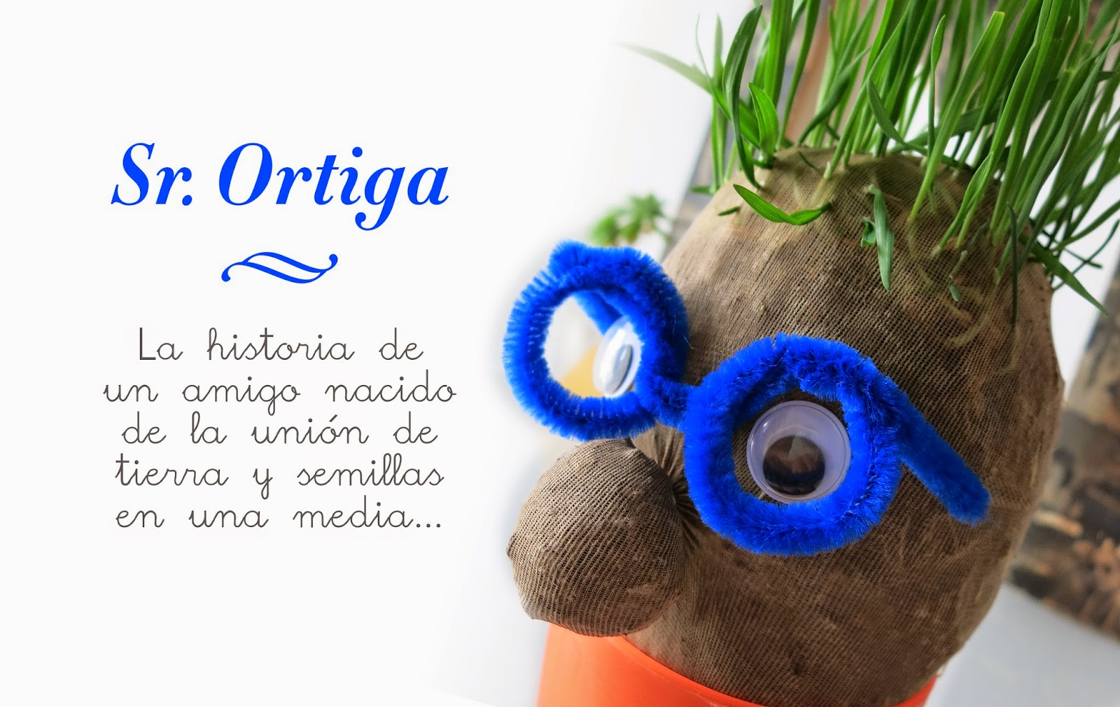 Manualidad y cuento el señor Hortiga hecho con tierra y semillas en media