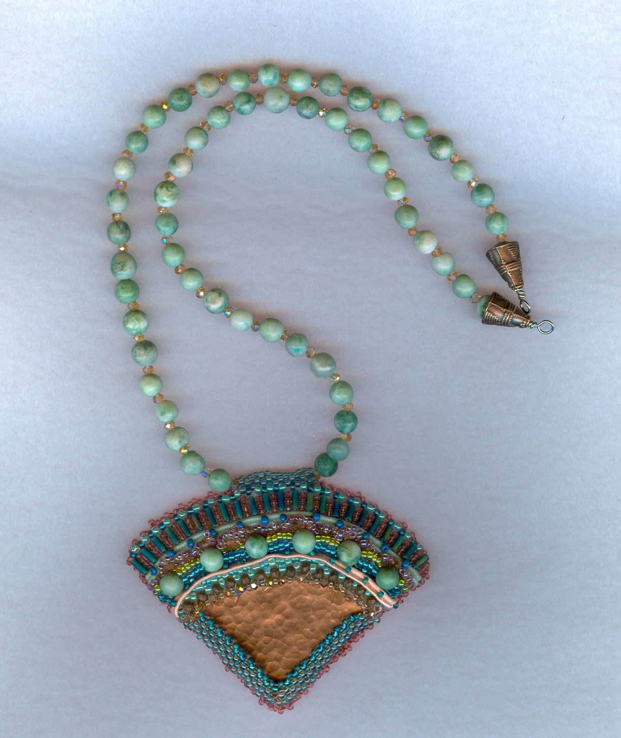 Copper fan necklace and turquoise chain