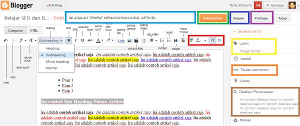 Tampilan dari editor yang digunakan dalam membuat artikel di blogger