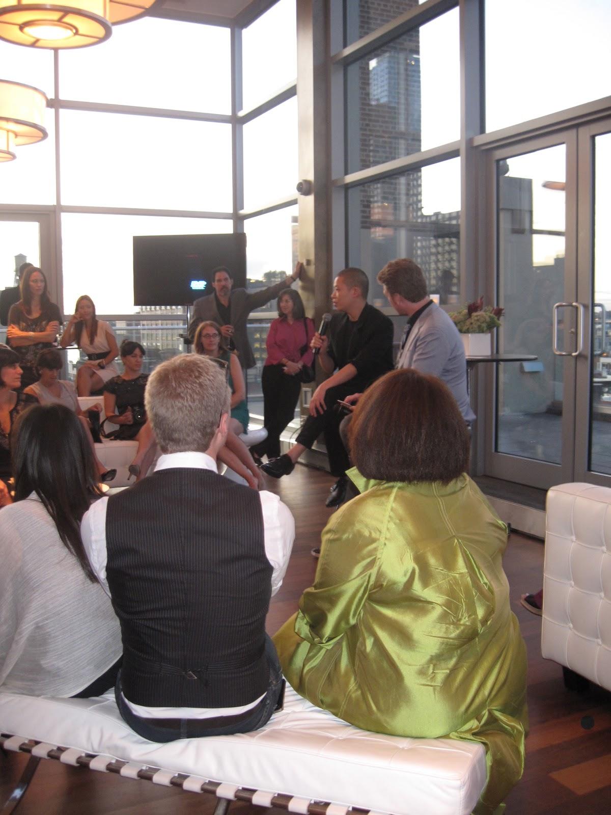 Jason Wu answers questions during Brizo Fashion Week, New York
