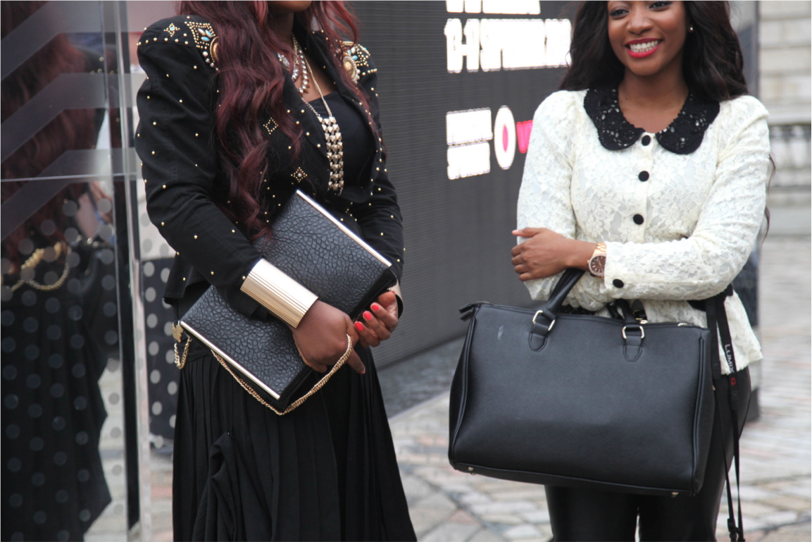 London Fashion Week streetstyle leather gold accessories