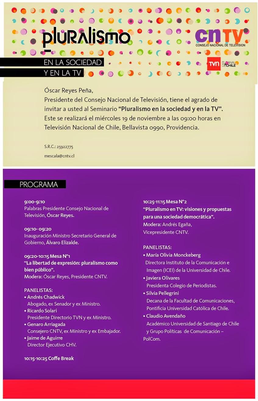 """SEMINARIO CNTV """"Pluralismo en la sociedad y en la TV"""" (Miércoles 19 de noviembre, 09:00 horas)"""