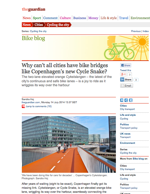 http://www.theguardian.com/cities/2014/jul/14/bike-lanes-bridge-copenhagen-new-cycle-snake-cykelslangen