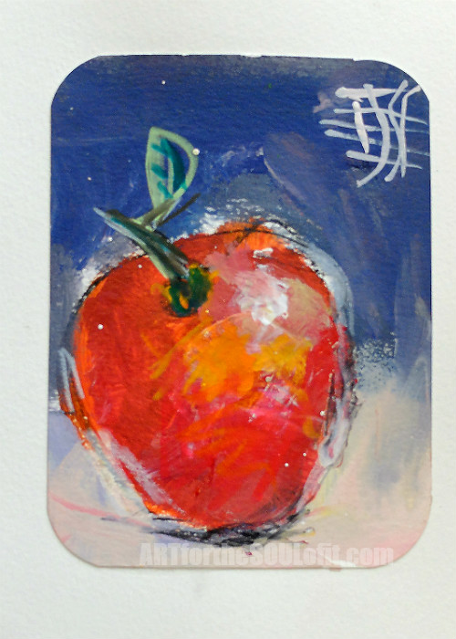 small apple painting acrylic on paper #4