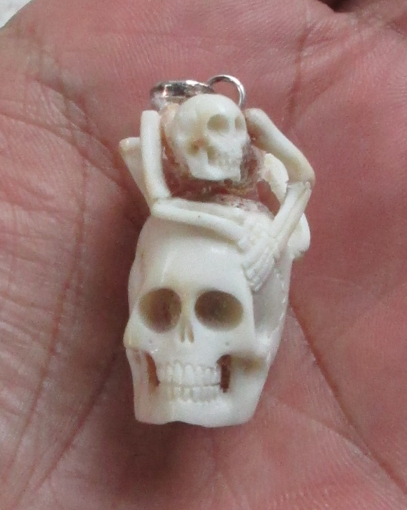 Skeleton Skull Carved Bone in Antler