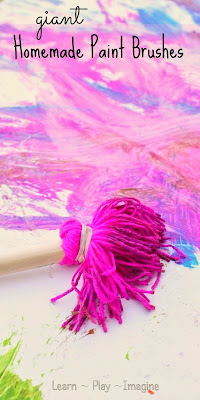 How to make homemade brushes with yarn - big art for kids