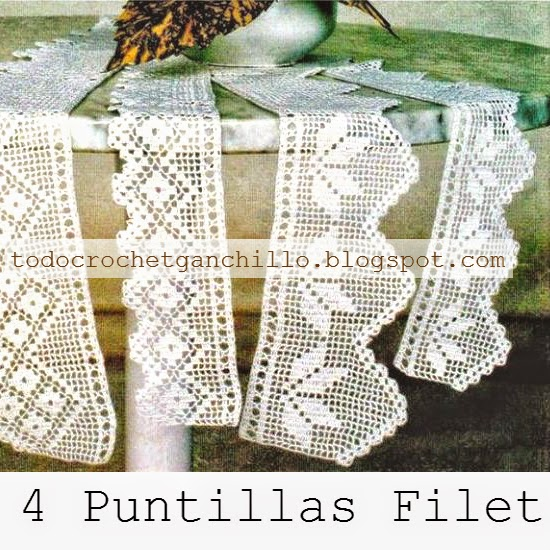 4 esquemas crochet filet de puntillas guardas