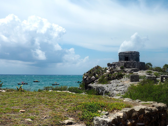 Tulum ruins, with the ocean beyond the cliff-side, Mexico