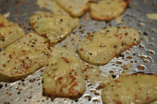 "Lighthearted Locavore: Roasted Kohlrabi ""Chips"" and Parmesan Cheese"