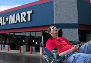 Frank Mulroney occupying his chair outside Walmart in Little Rock