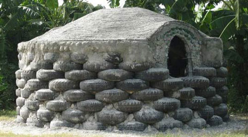 House built from tires part two and ten for Making hut with waste material