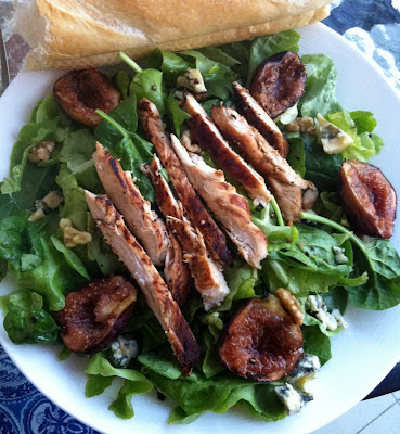 Southern Spoon Blog: grilled fig and chicken salad with blue cheese, walnuts, and honey-tarragon vinaigrette