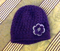 Crochet bobble beanie with flower
