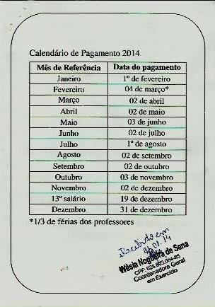 CALENDÁRIO PAGAMENTO EFETIVOS PMC 2014