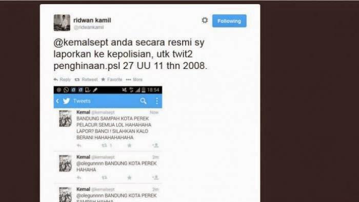 Kicauan akun twitter @kemalsept, yang menghina Wali Kota Bandung