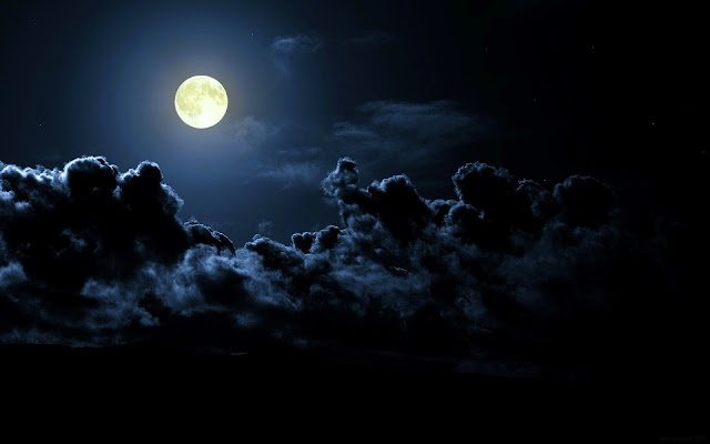 Full Moon Dark Clouds