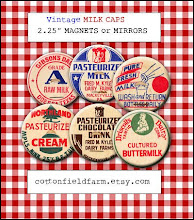 "Vintage Milk Bottle Caps 2.25"" Magnets"