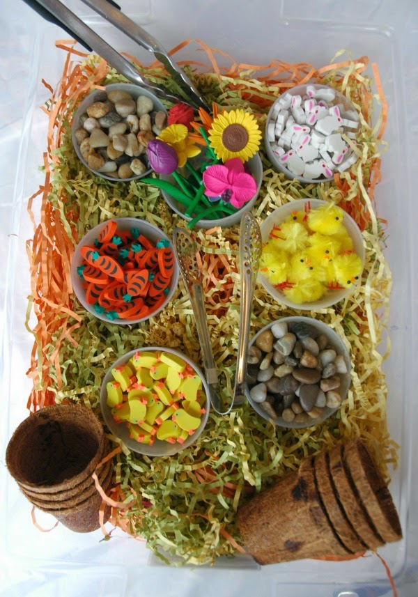 Sensory Bin for Spring Theme- Weekly Homeschool Preschool