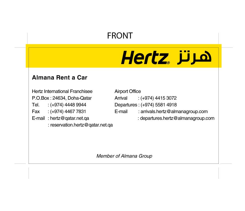 Qatar business card almana hertz business card qatar business card reheart Choice Image